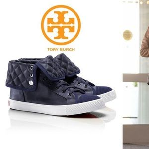 Tory Burch leather high top sneakers